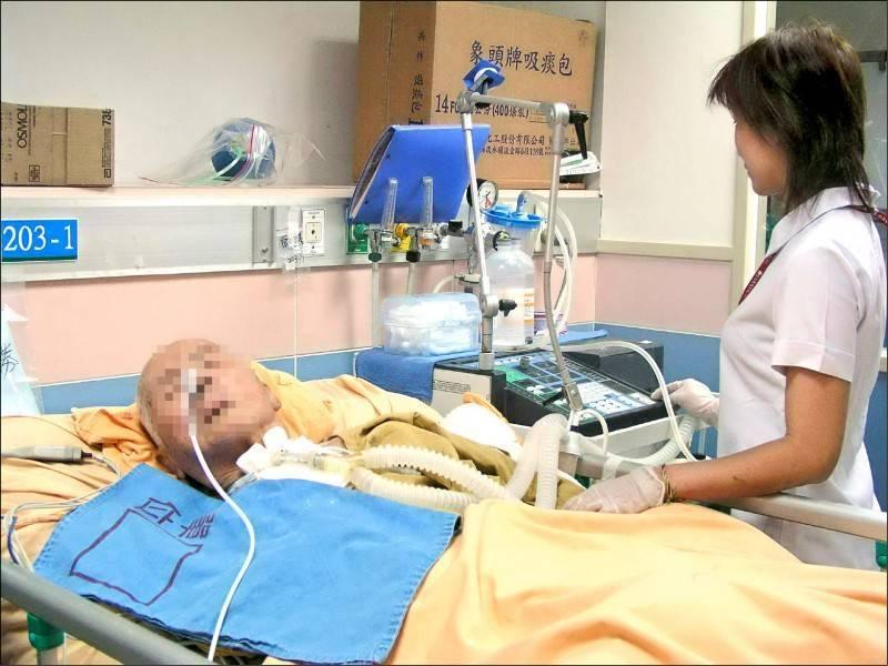 健保資料庫統計,去年長期依賴呼吸器患者高達1.5萬人,花費健保約122億元;圖中人物與新聞事件無關。(資料照)