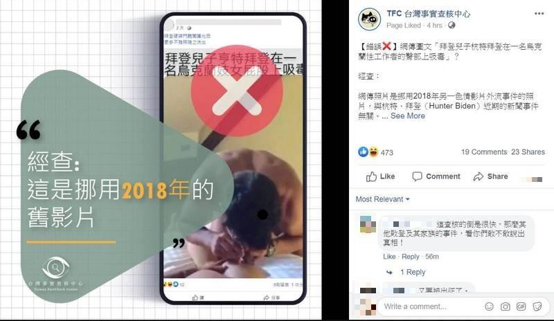 網路近日流傳一張圖文稱「拜登兒子杭特拜登在一名烏克蘭性工作者的臀部上吸毒」的圖文,據台灣事實查核中心指出,網傳照片是挪用2018年另一色情影片外流事件的照片,確定為「錯誤」的假訊息。(圖擷取自Facebook)