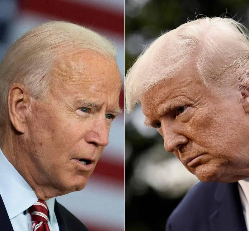 美國總統候選人第三場辯論會,同時也是最後一場辯論會,將於美東時間22日晚上9點舉行。川普(右)和拜登(左)都已同意出席。(法新社)