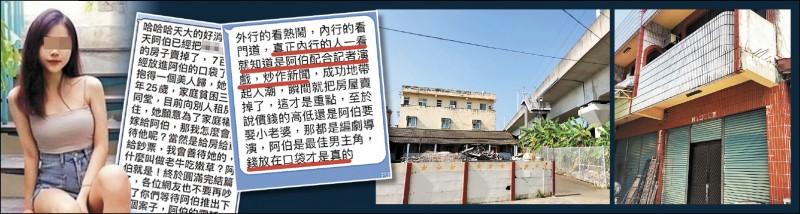 宋先生取得這間法拍屋,5年來都租給原屋主,房子位於劉家祖厝後方,緊鄰高鐵。(記者顏宏駿攝)   宋先生傳給媒體的嫩妻照是馬來西亞網紅,被本尊打臉。(記者顏宏駿翻攝)