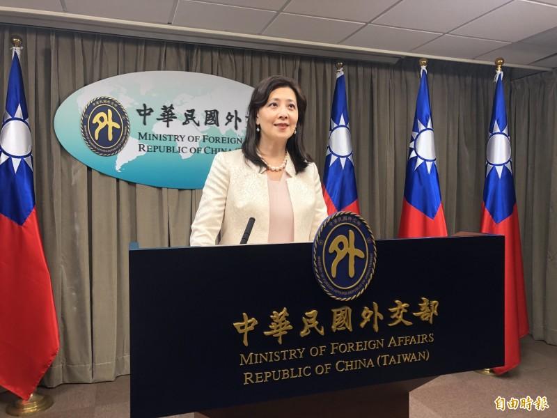 外交部發言人歐江安出席例會。(記者呂伊萱攝)