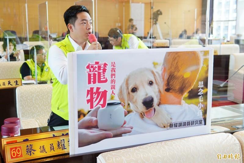 議員蔡耀頡質詢指出,台中市目前並無合法立案的寵物屍體火化設施,讓許多飼主被迫選擇非法業者處理,要求市府正視此議題。(記者何宗翰攝)