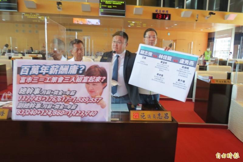 市議員施志昌(中)等人指工策會3人是百萬年薪。(記者蘇金鳳攝)