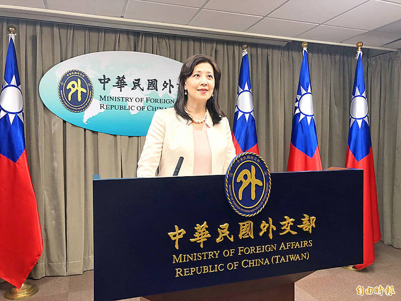Ministry of Foreign Affairs spokeswoman Joanne Ou addresses a news conference at the ministry in Taipei yesterday.  Photo: Lu Yi-hsuan, Taipei Times