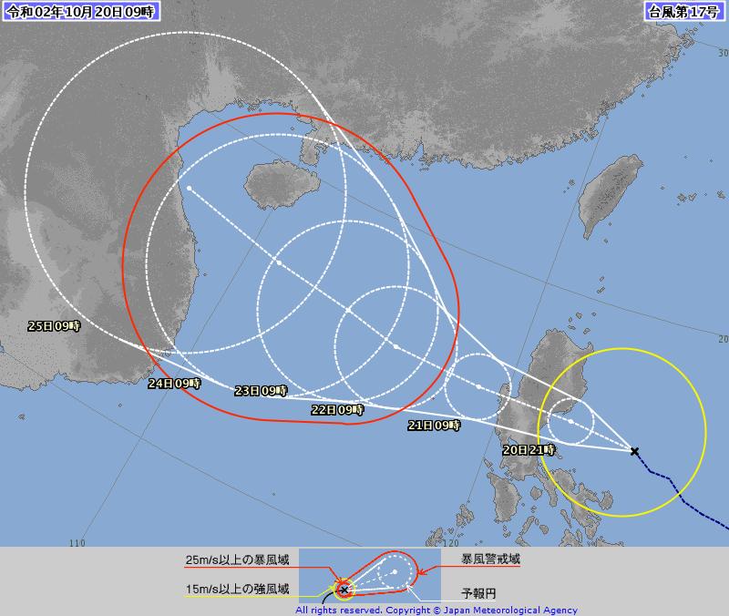 第17號颱風「沙德爾」今天將穿越呂宋島,明進入南海後,以持續偏西的方向直撲越南,對台無直接影響,但共伴效應將為北東地區帶來降雨。(圖擷自日本氣象廳)