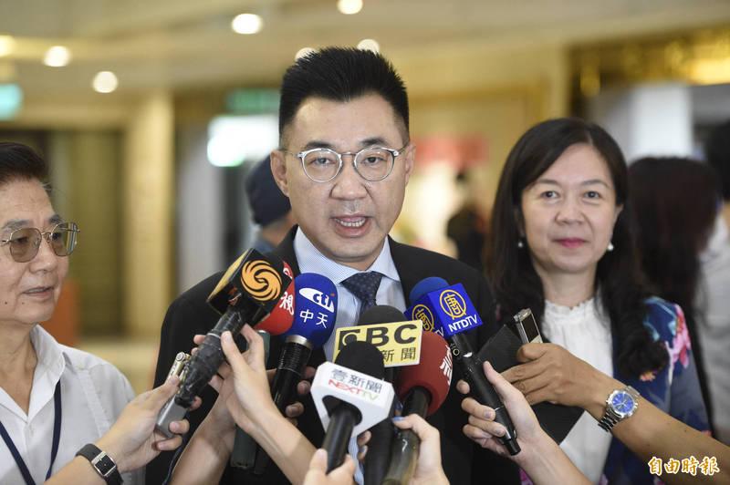 國民黨主席江啟臣今表示,國民黨辦台灣光復紀念活動理所當然,卻被抹紅成與對岸隔海唱和,這種抹紅完全是昧於事實。(資料照)