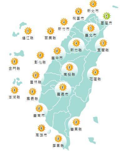 紫外線方面,明天除基隆市為低量級,其他地區均為中量級至高量級。(圖擷取自中央氣象局)