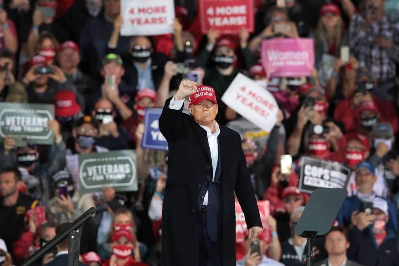 美國分析指出,有10個理由都指向川普會贏得2020年美國總統大選。(法新社檔案照)