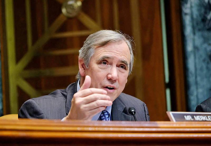 US Senator Jeff Merkley speaks at a Senate hearing on Capitol Hill in Washington on April 11 last year. Photo: AFP