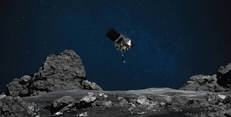 NASA探測器Osiris-Rex成功採集小行星樣本。(歐新社)