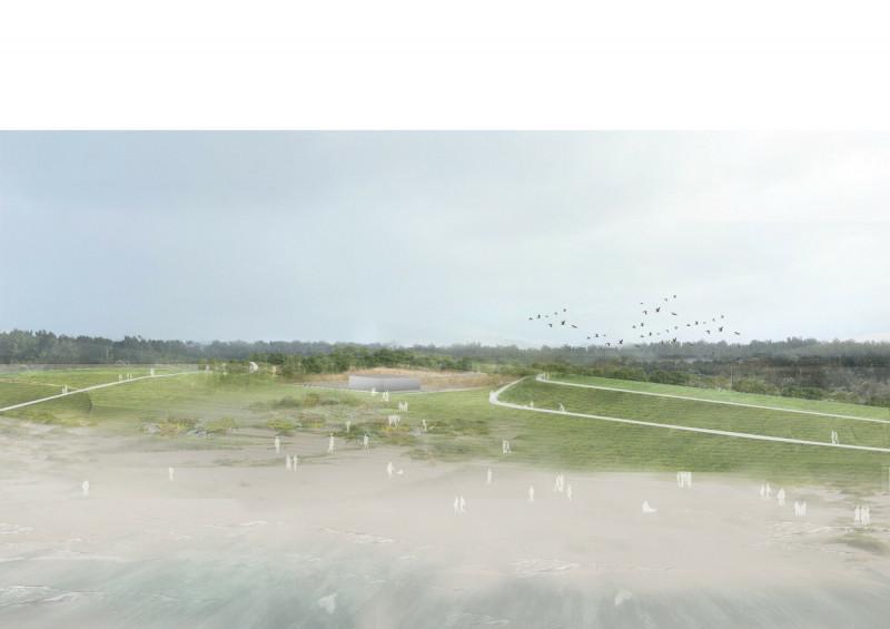 新竹市海岸線景觀改造二期工程的完工示意圖。(記者洪美秀翻攝)(記者洪美秀攝)