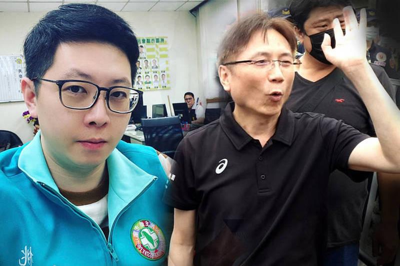 有網友翻出詹江村(右)於今年6月前往桃園市議員王浩宇(左)服務處丟擲雞蛋的新聞畫面,笑喊「感謝王浩宇治癒了詹村長的五十肩」。(左圖取自王浩宇臉書,右圖為資料照,本報合成)
