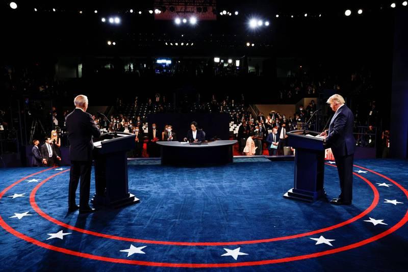 2020年美國總統競選辯論會22日在田納西州貝爾蒙特大學舉行。(資料照,路透)