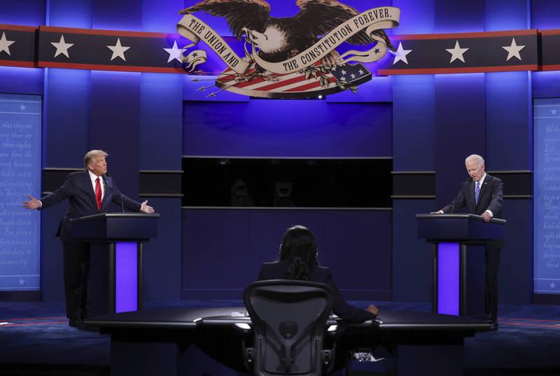 美國總統川普與民主黨總統候選人拜登就氣候問題展開辯論。(美聯社)