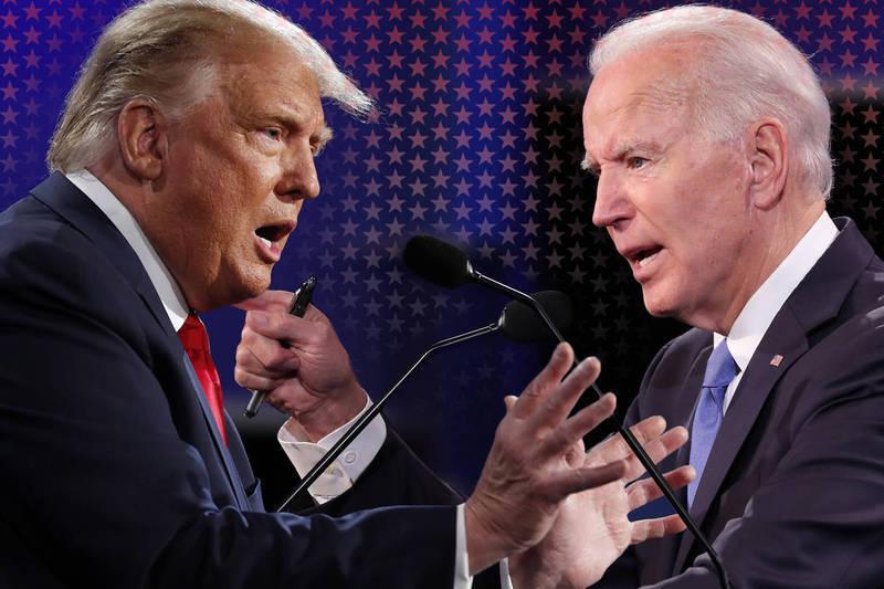 有別兩人9月29日首次電視辯論的大亂鬥,美國總統川普與民主黨對手拜登今天在第二場、也是最後一場辯論回歸正常,依規則交鋒防疫、種族等議題,呈現彼此南轅北轍治國觀點。(毆新社,本報合成)