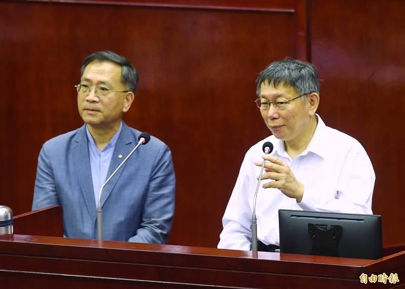 台北市議會23日進行「市長專案報告」,市長柯文哲列席報告並備質詢。(記者方賓照攝)