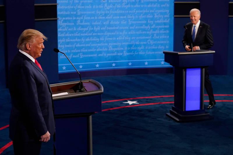 美國總統川普與民主黨總統候選人拜登展開激烈攻防。(歐新社資料照)