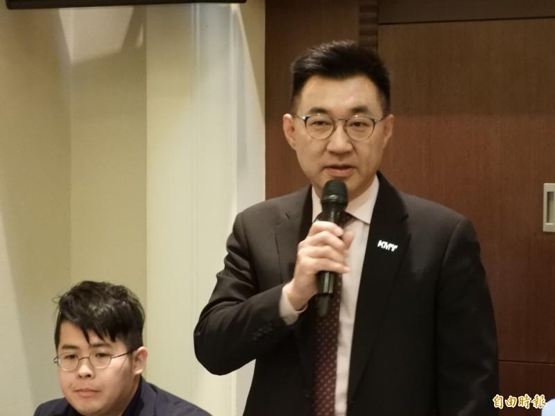對於選桃園市長傳聞,國民黨主席江啟臣直呼:「想像力太豐富了!」(記者葛祐豪攝)
