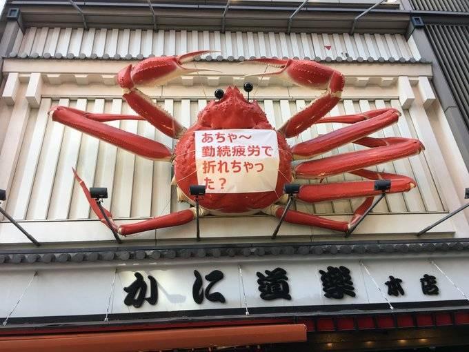 道頓堀螃蟹料理店「蟹道樂」的巨大螃蟹招牌日前傳出有破損情況,卸下兩隻腳維修,今日已完成修復。(翻攝推特かにぼん【かに道楽公式】)