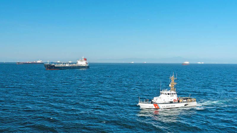 US Coast Guard cutter Narwhal patrols the coast of Southern California on April 23.   Photo: AFP/US Coast Guard/Aidan Cooney/Handout