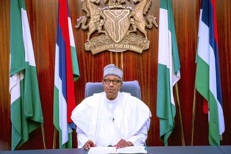 奈及利亞連日示威,總統布哈里22、23日譴責抗議的暴力行動,未提及軍警槍擊事件。(美聯社)