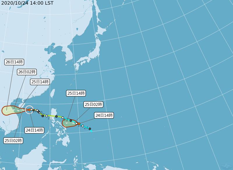 第17號颱風「沙德爾」正往中南半島前進,而菲律賓周遭的熱帶低壓,有機會發展成颱風。(圖擷取自中央氣象局)