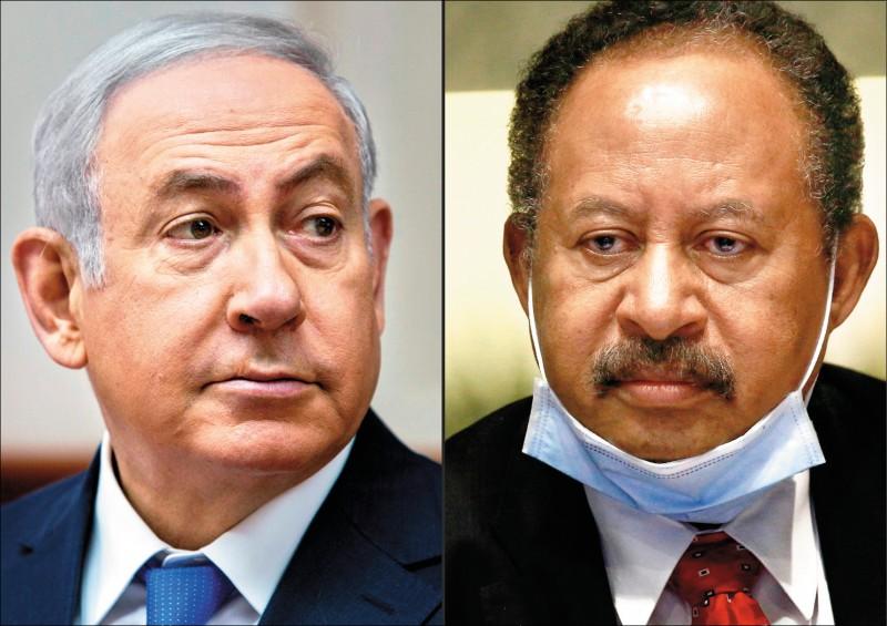 爭取下月連任的美國共和黨籍總統川普,廿三日在白宮與蘇丹總理哈姆杜克(右,法新社)及以色列總理納坦雅胡(左)通話,宣布蘇以關係正常化。(美聯社)