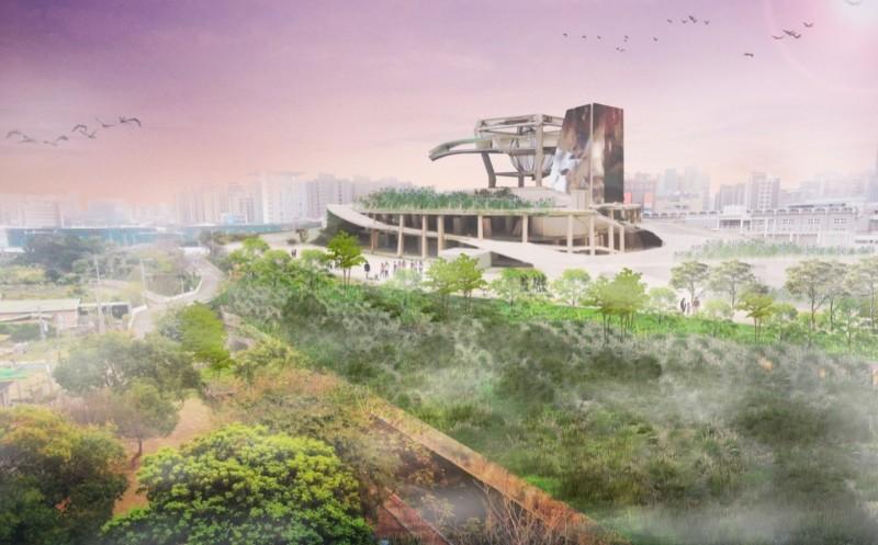 新竹市府規劃在竹科X基地旁設立8公頃的「藝文高地」文化新聚落,圖為完工示意圖。(市府提供)