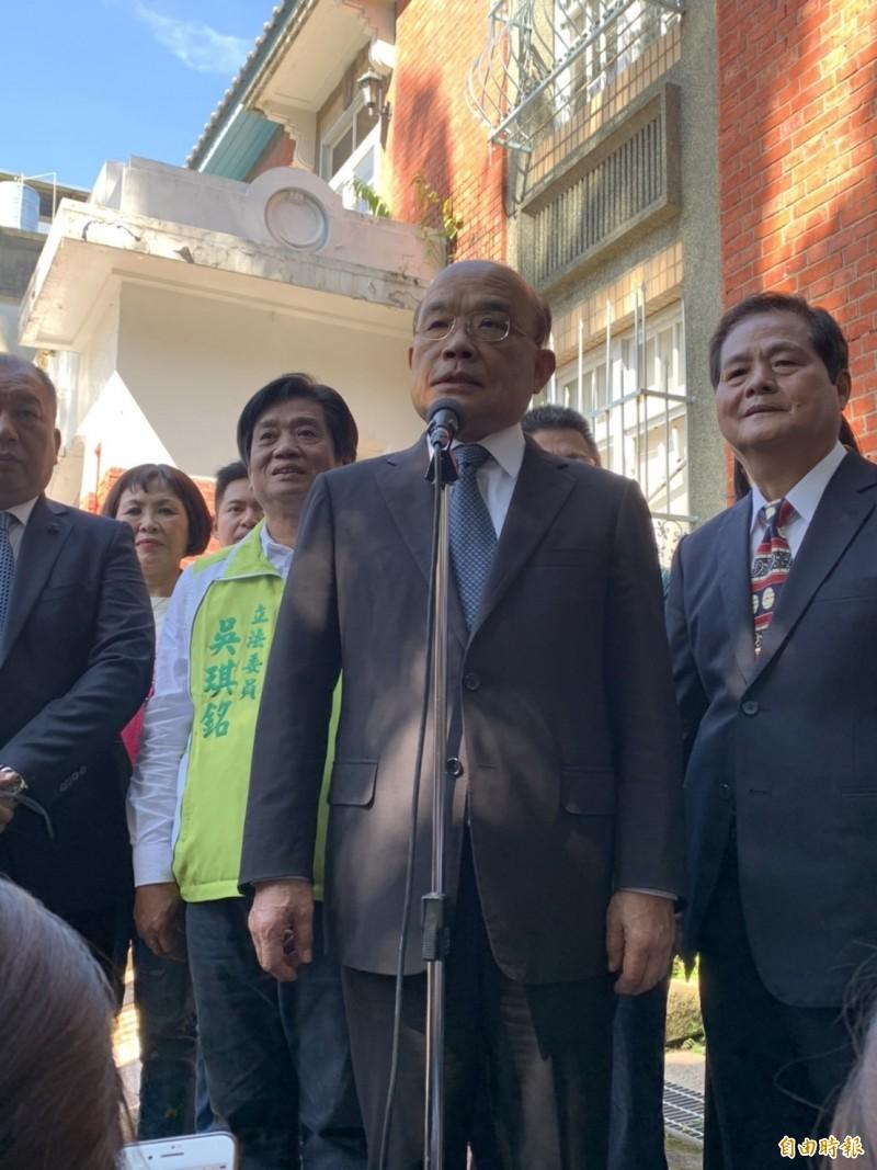 蘇貞昌表示,作為領導過政府、尤其當過總統的人講話,最好能夠以台灣利益為優先。(記者邱書昱攝)