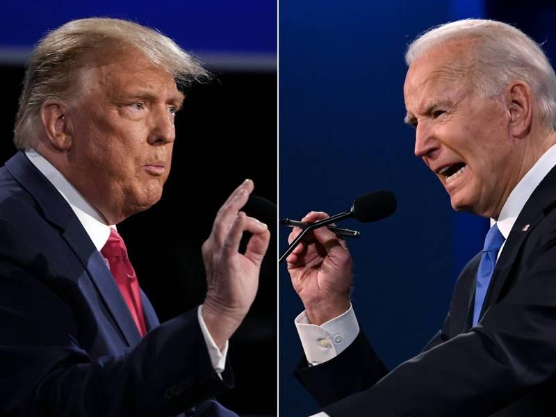 美國大選倒數不到10天,媒體民調顯示選民板塊正在移動。左為川普,右為拜登。(法新社)