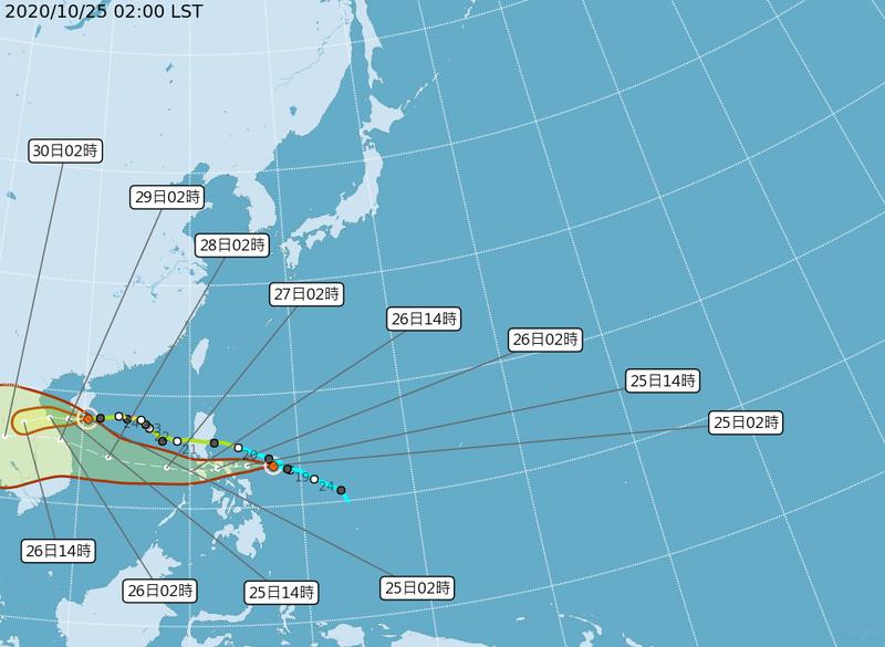 今年第18號颱風、輕度颱風「莫拉菲」今凌晨生成。(圖擷取自中央氣象局)
