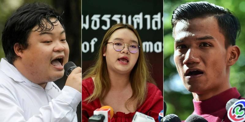 泰國3名社運領袖巴利(左)、帕努沙雅(中)與帕努蓬(右)的保釋要求24日被法院駁回。(法新社)