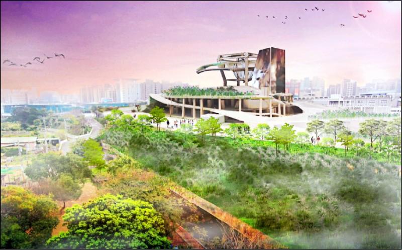 新竹市政府為串起「藝文高地」,將引用隆恩圳水資源,打造100公尺探索小溪繞行該區。圖為「藝文高地」完工示意圖。(市府提供)