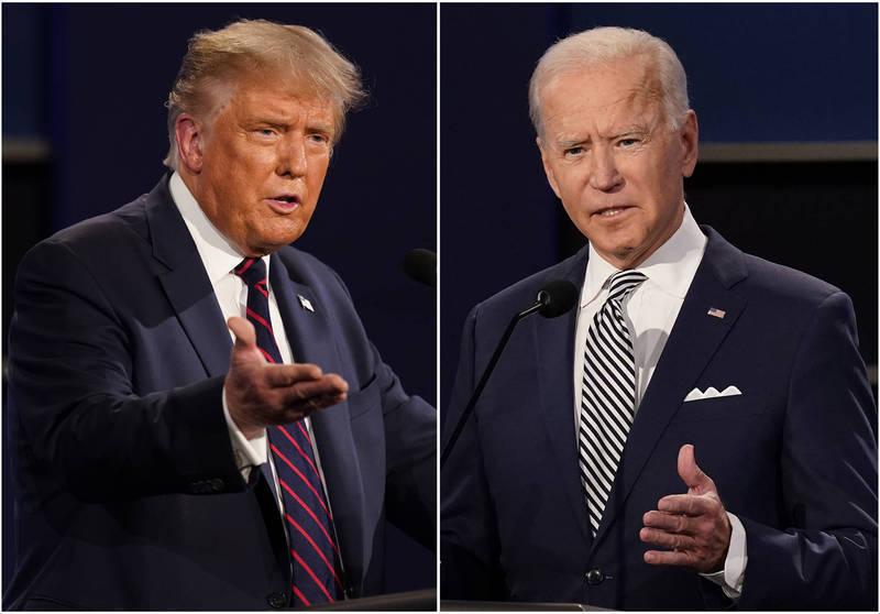 美國總統大選進入倒數時刻,目前民主黨候選人拜登(圖右)民調微幅領先美國總統川普(圖左)。(美聯社)