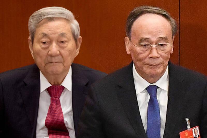 王岐山(右)、朱鎔基(左)曝光,被指「擁美派」佔上風。(本報合成)