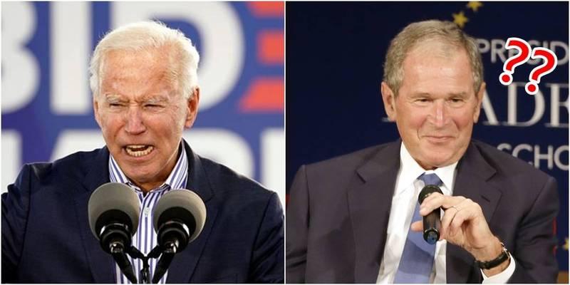 拜登表示,再給小布希當4年總統,世界會變了。(左圖路透,右圖美聯社,本報合成)