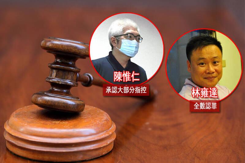 台北地院今下午首度開庭,陳承認大部分指控,但爭執違法要件,林則全部認罪。(本報合成)