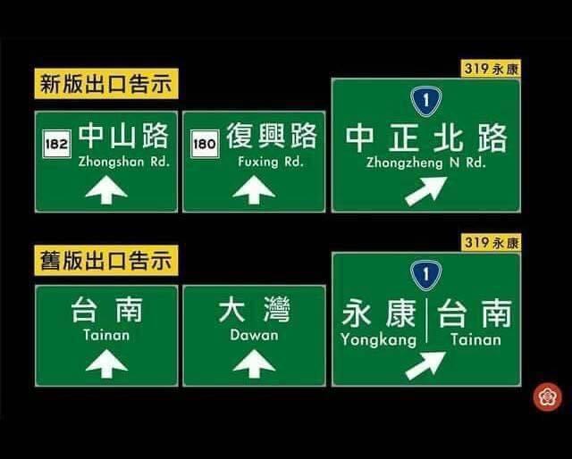 速公路局先前更改國道交流道標示,將永康、大灣及台南交流道標示為「中正北路、復興路、中山路」,但此一做法在網路引發議論,立委林俊憲今上午也質疑,「台南有19條中山路,路標到底是指哪一條?」(圖擷自臉書)