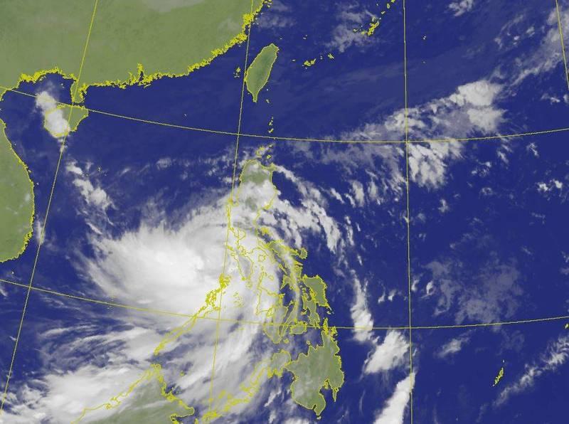「莫拉菲」已經增強為中度颱風,不過位置偏南,外圍雲系影響台灣程度較少。(圖擷自中央氣象局)