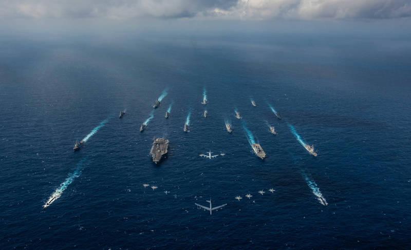 美日兩國今日在沖繩縣舉辦「利劍21」軍演。圖為2018利劍軍演。(路透)
