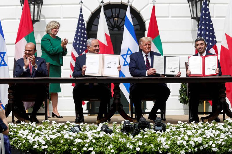 《亞伯拉罕協議》於美國白宮簽署。(路透社)