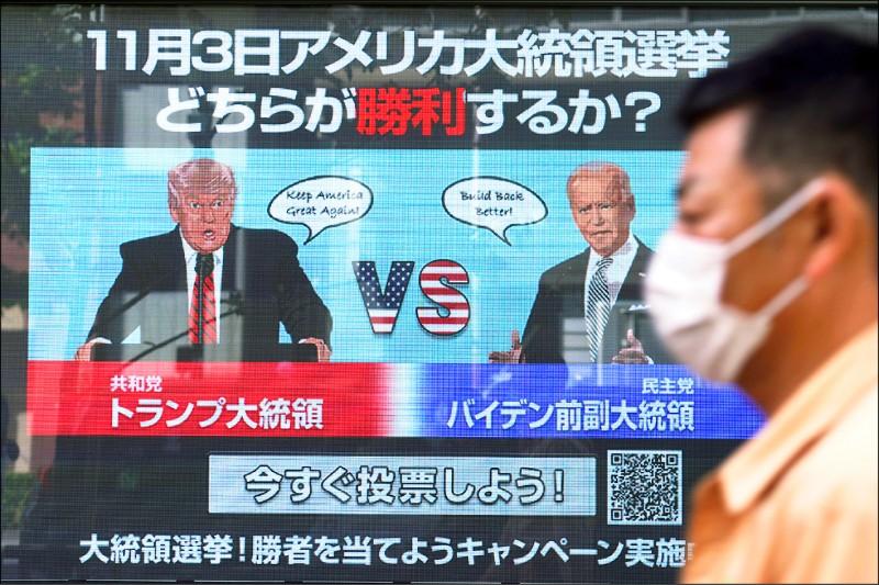 美國總統大選受到全球矚目,日本東京街頭的大型螢幕廿六日播放網路投票畫面,邀請民眾預測誰會當選。(美聯社)