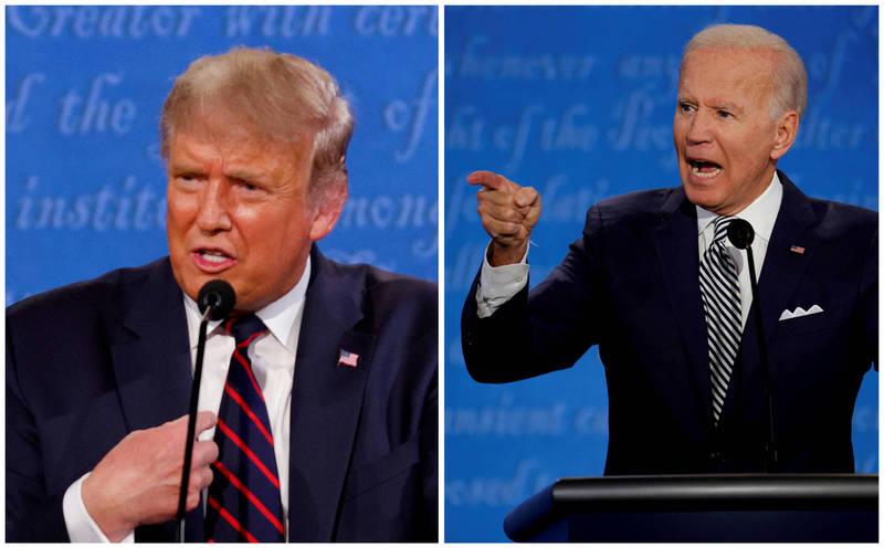 研究機構指出,美國三家媒體業巨頭在其晚間新聞內,過度播放有關川普的負面新聞,其占比竟高達92%,而民主黨候選人拜登的負面新聞卻只有34%。(路透)