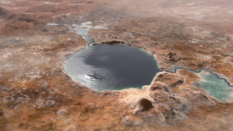 傑澤羅隕石坑數十億年前是一個巨大湖泊。(圖擷取自NASA)