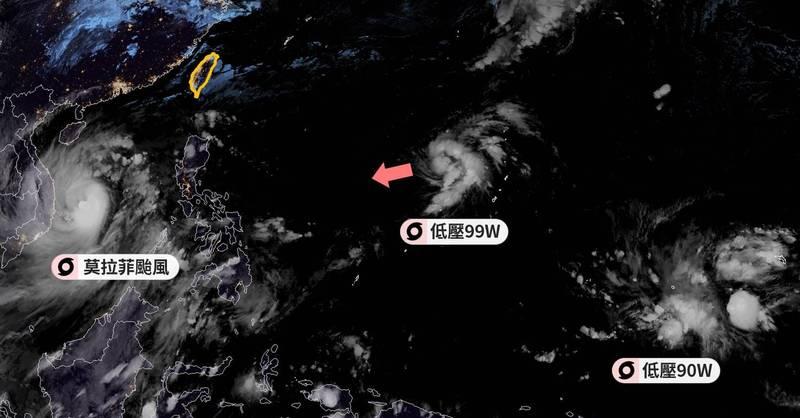「台灣颱風論壇|天氣特急」表示,低壓99W未來預計會走向菲律賓,目前看起來跟台灣沒什麼關係。(圖擷取自臉書_台灣颱風論壇|天氣特急)