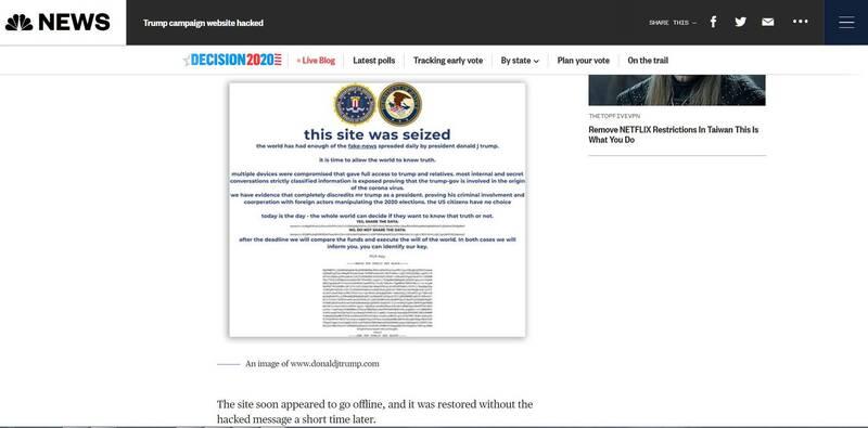 網傳照片顯示,網攻內容聲稱川普散布假新聞,是時候讓世界知道真相。(圖翻攝自《NBC》官網)