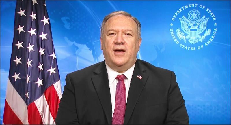 美國與越南共同舉辦線上「印太商業論壇」,美國國務卿龐皮歐透過影片致開幕詞。(翻攝自論壇直播)