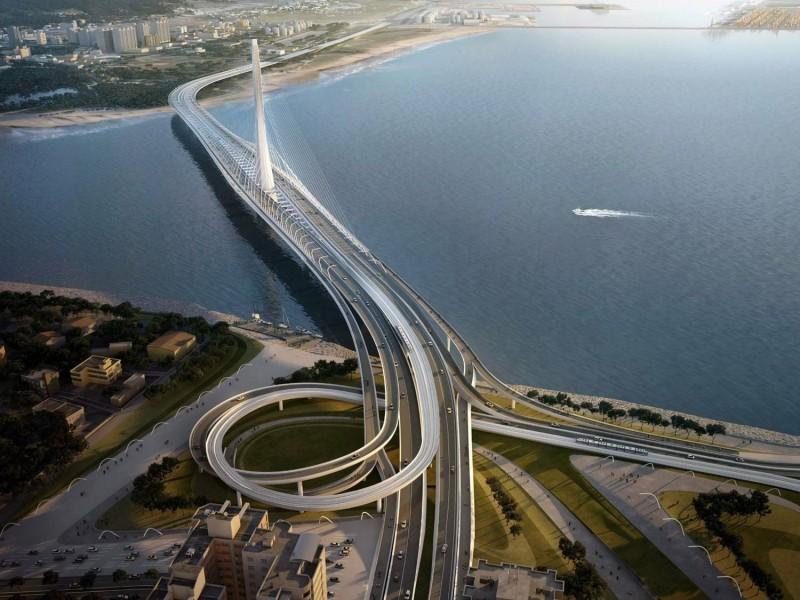 位於淡水河口的淡江大橋,將於2024年完工。(圖取自新北市政府施政成果網)