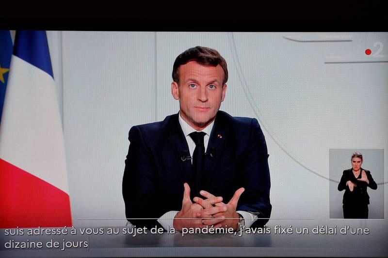 法國總統馬克宏宣布全國部分封鎖至12月1日。(法新社)