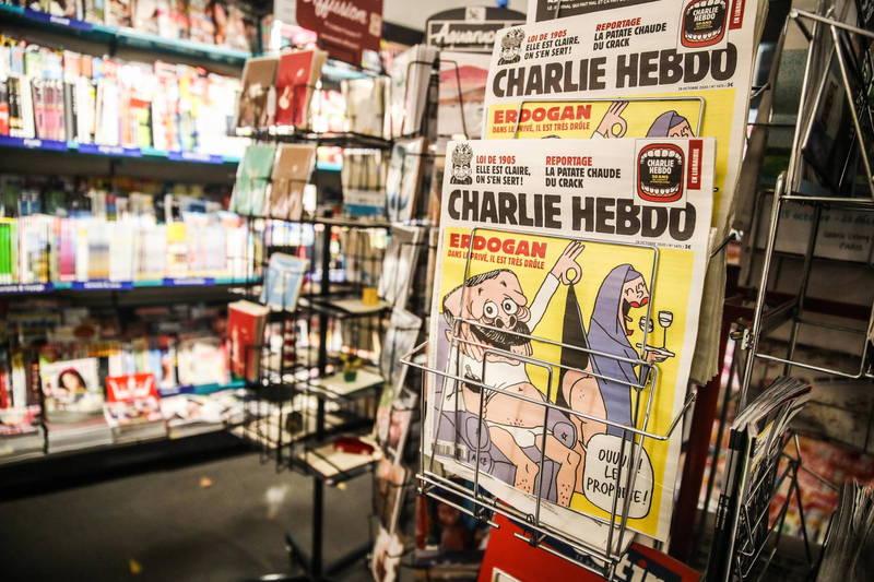 法國政治諷刺雜誌《查理週刊》27日出版最新一期刊物,封面為土耳其總統艾多根的諷刺漫畫,引起土國不滿提起刑事訴訟。(歐新社)